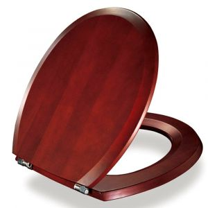 Replacement Round Toilet seat wooden (Mahogany) 5708590265001 with fittings